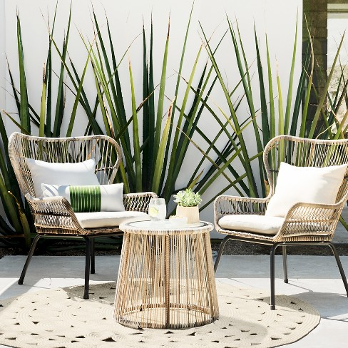 Latigo 3pc All-Weather Wicker Outdoor Patio Chat Set - Tan - Threshold™ - Latigo 3pc All-Weather Wicker Outdoor Patio Chat Se : Target