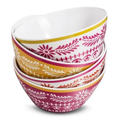 Boho Boutique Melamine Bowls 26oz - Marika Red/White - Set of 4