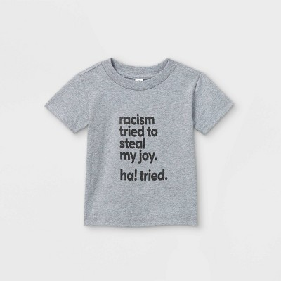 Mess In A Bottle x Target Black History Month Infant 'Racism Tried To Steal My Joy Ha! Tried' Short Sleeve Graphic T-Shirt - Heather Gray 12M