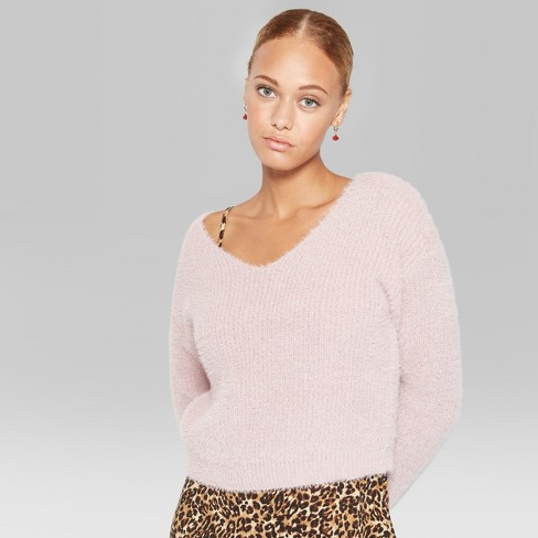 f601fe12f Women s Long Sleeve Fuzzy V-Neck Sweater - Wild Fable™ Rose XL   Target