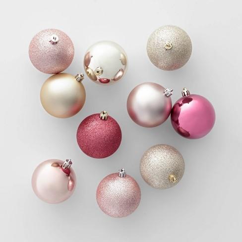 50ct Christmas 70mm Ornament Set Champagne Dusty Rose Rose Gold Wondershop Target