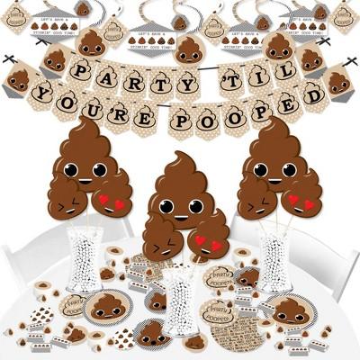 Big Dot of Happiness Party 'Til You're Pooped  - Poop Emoji Party Supplies - Banner Decoration Kit - Fundle Bundle