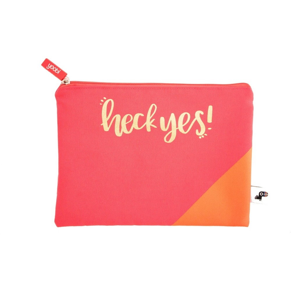 Image of Pencil Case Flat Zip Top Heck Yes! Coral - Yoobi