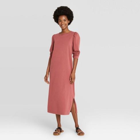 Women's Puff Long Sleeve T-Shirt Dress - Universal Thread™ Brown XS