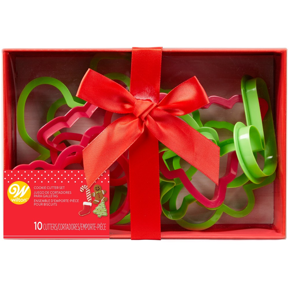 10pc Plastic Holiday Cookie Cutter Set Red/Green - Wilton, Multi-Colored