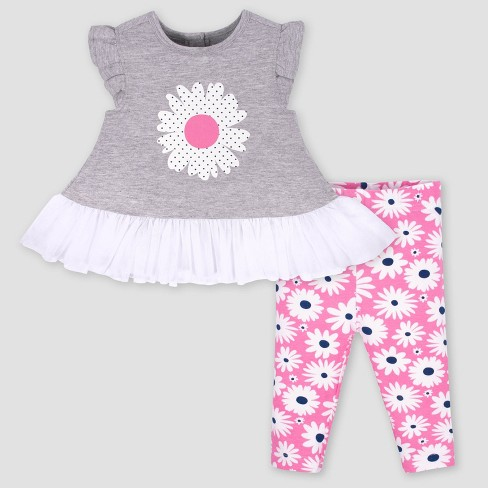 63da5faf90e2b Gerber Baby Girls' 2pc Daisies Tunic and Floral Leggings Set - Heather  Grey/Pink