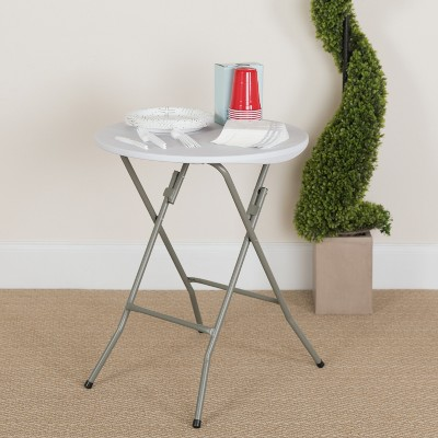 Flash Furniture 2-Foot Round Granite White Plastic Folding Table
