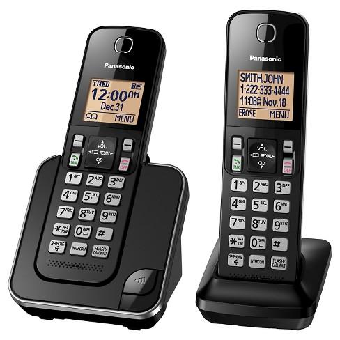 5291d90a81ef Panasonic 2 Handset Cordless Phone - Black (KX-TGC352B) : Target