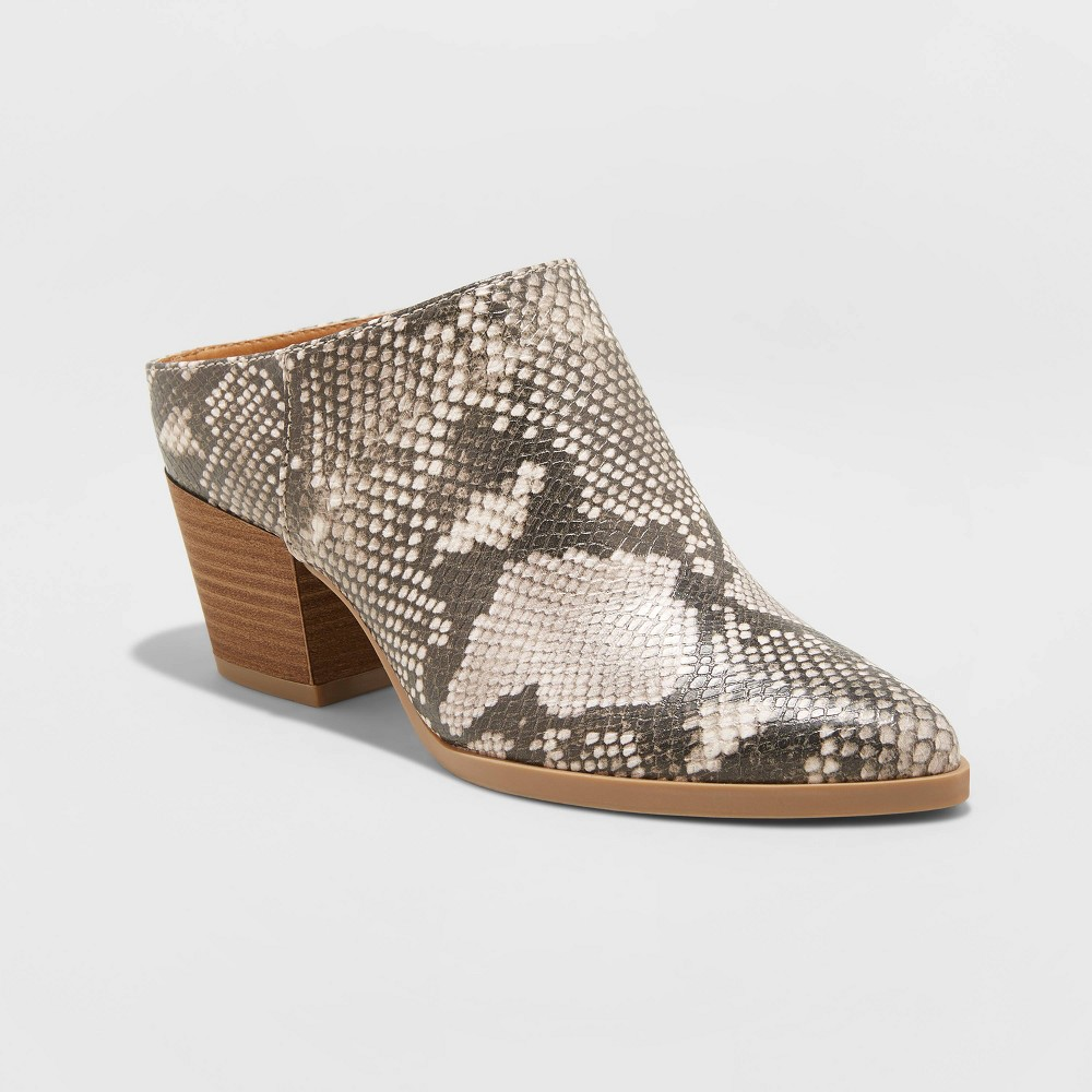 Women's Makana Faux Leather Snake Heeled Mules - Universal Thread Gray 6.5 was $37.99 now $24.69 (35.0% off)
