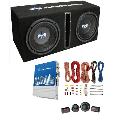 """MTX Magnum 10"""" 400W RMS Dual Car Loaded Subwoofer Sub Woofer+Box+Amp Kit Package"""