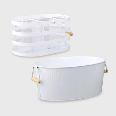 2ct Metal Beverage Bucket/Utensil Holder - Bullseye's Playground™