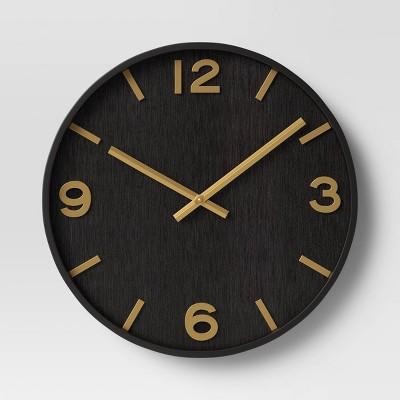 "20"" Wood Wall Clock Brass - Threshold™"