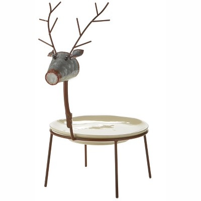 Lakeside Reindeer Platter with Decorative Metal Stand for Christmas Appetizers, Cookies
