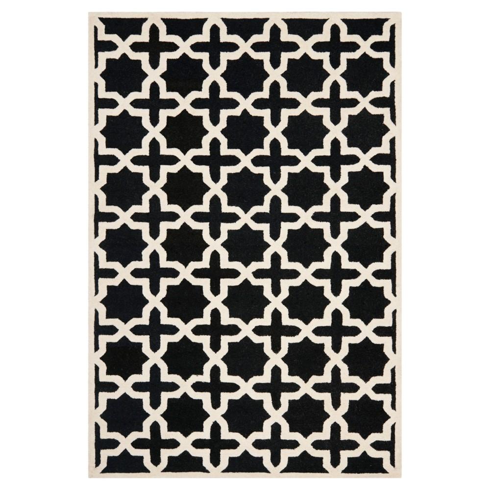 6'X9' Geometric Area Rug Black/Ivory - Safavieh