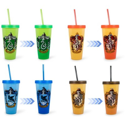 Silver Buffalo Harry Potter Hogwarts Houses Color-Changing Plastic Tumblers | Set Of 4