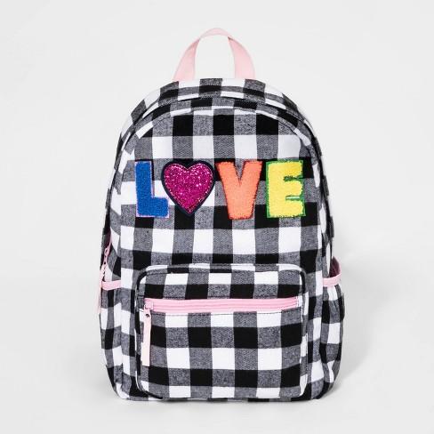 Girls' Gingham Love Backpack - Cat & Jack™ Black/White - image 1 of 2