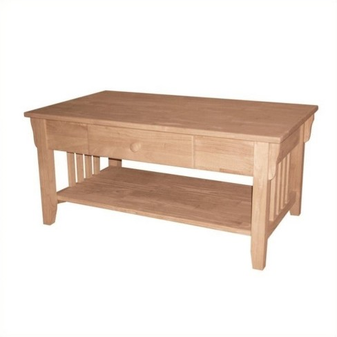 Wood Unfinished Mission Coffee Table In Brown Pemberly Row