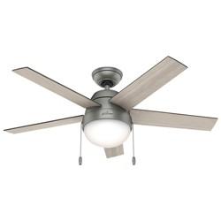 """46"""" Anslee Matte Silver Ceiling Fan with Light - Hunter Fan"""