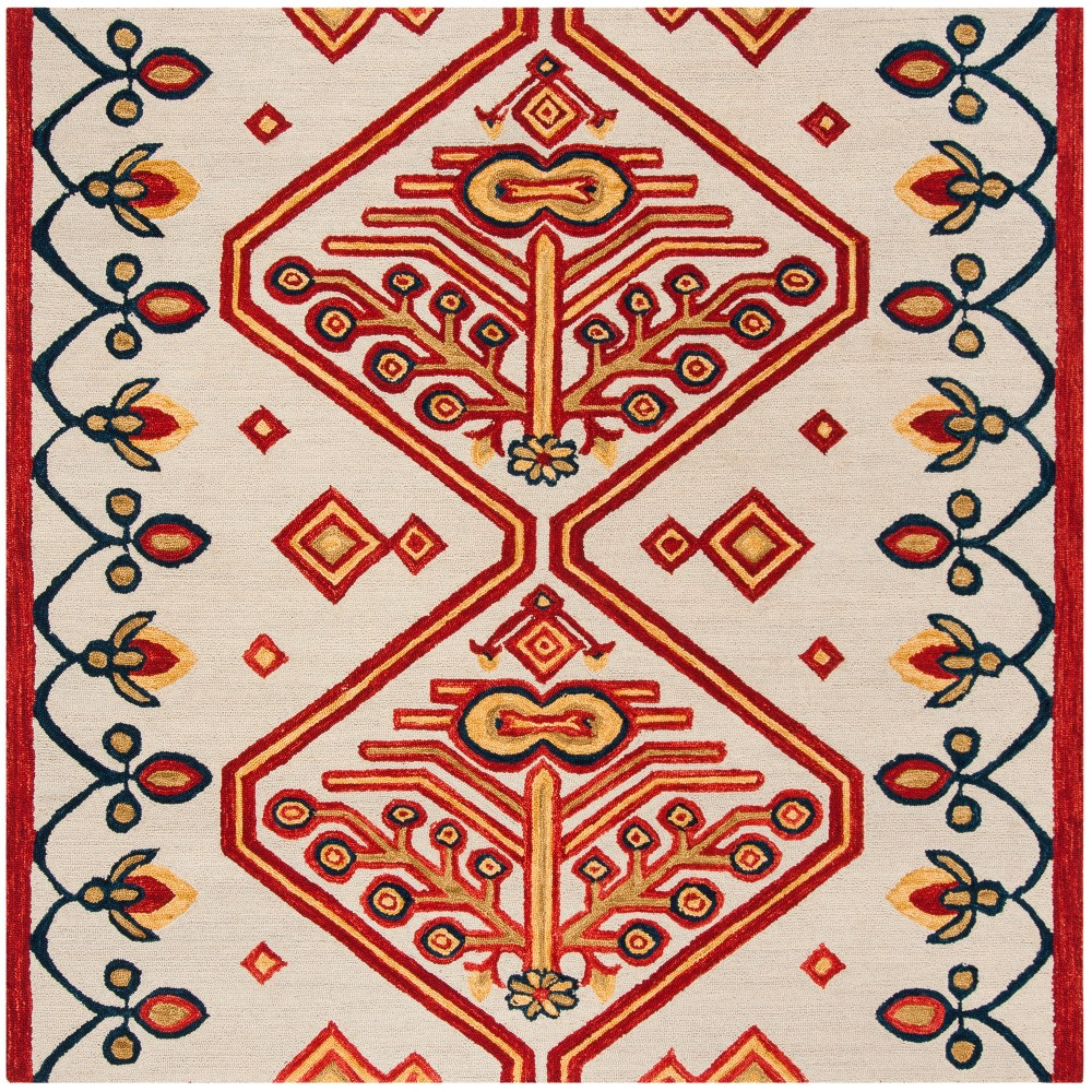 7'X7' Tribal Design Tufted Square Area Rug Ivory - Safavieh, Multicolored