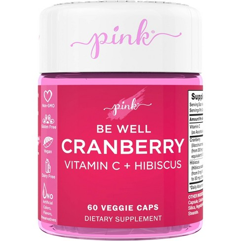 Pink Be Well Cranberry Complex with Vitamin C + Hibiscus Veggie Capsules - 60ct - image 1 of 3