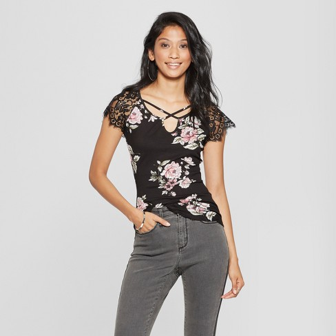 7bd447d6dbf Women s Floral Print Lace Short Sleeve Top - Almost Famous (Juniors ) Black