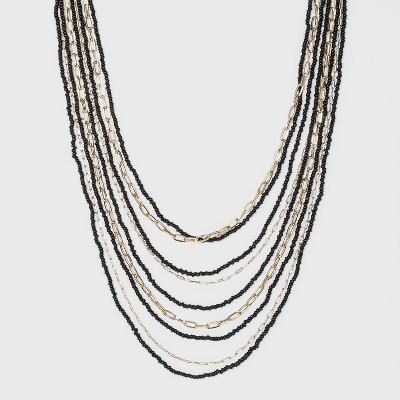 5 Row Seedbead and Chain Necklace - A New Day™