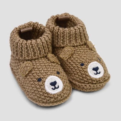 Baby Boys' Knitted Bear Slipper - Just One You® made by carter's Brown Newborn