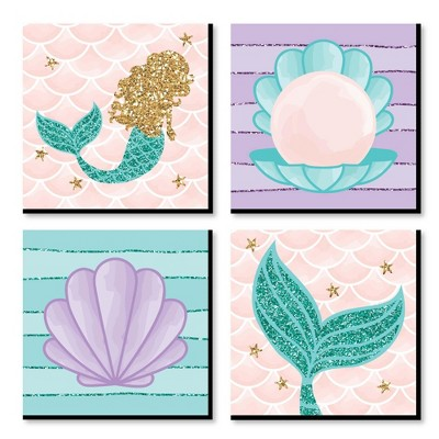 Big Dot of Happiness Let's Be Mermaids - Kids Room, Nursery Decor and Home Decor - 11 x 11 inches Nursery Wall Art - Set of 4 Prints for baby's room