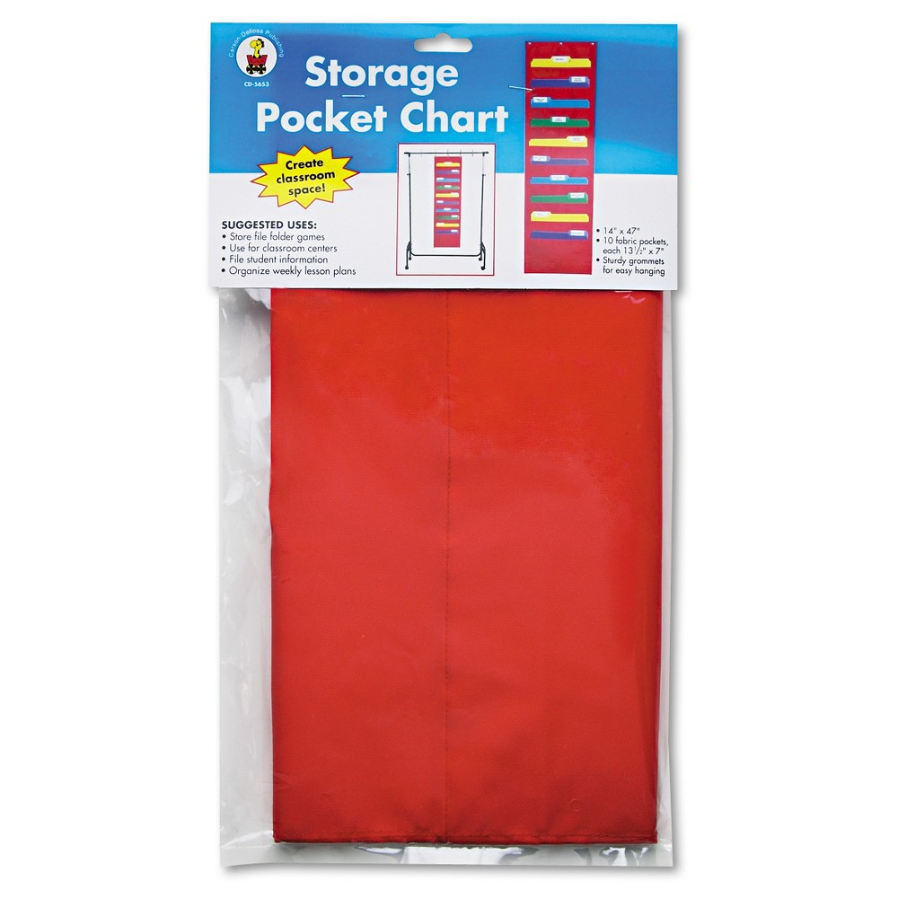 Image of Carson-Dellosa Publishing Storage Pocket Chart with 10 13 1/2 x 7 Pockets, Hanger Grommets, 14 x 47, Red