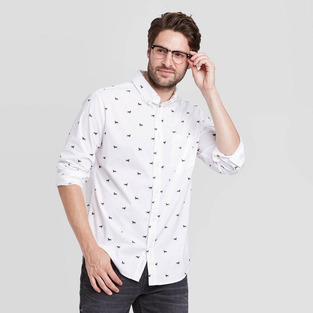 Best en's Standard Fit Stretch Poplin Long Sleeve Button-Down Shirt - Goodfellow & Co™