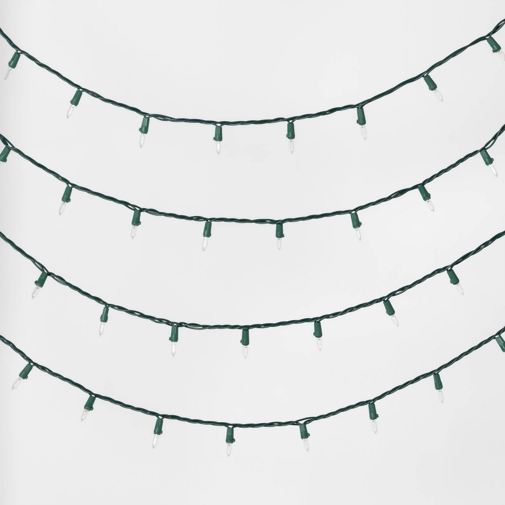 Image of 100ct Christmas LED Mini Twinkle String Lights Warm White with Green Wire - Wondershop