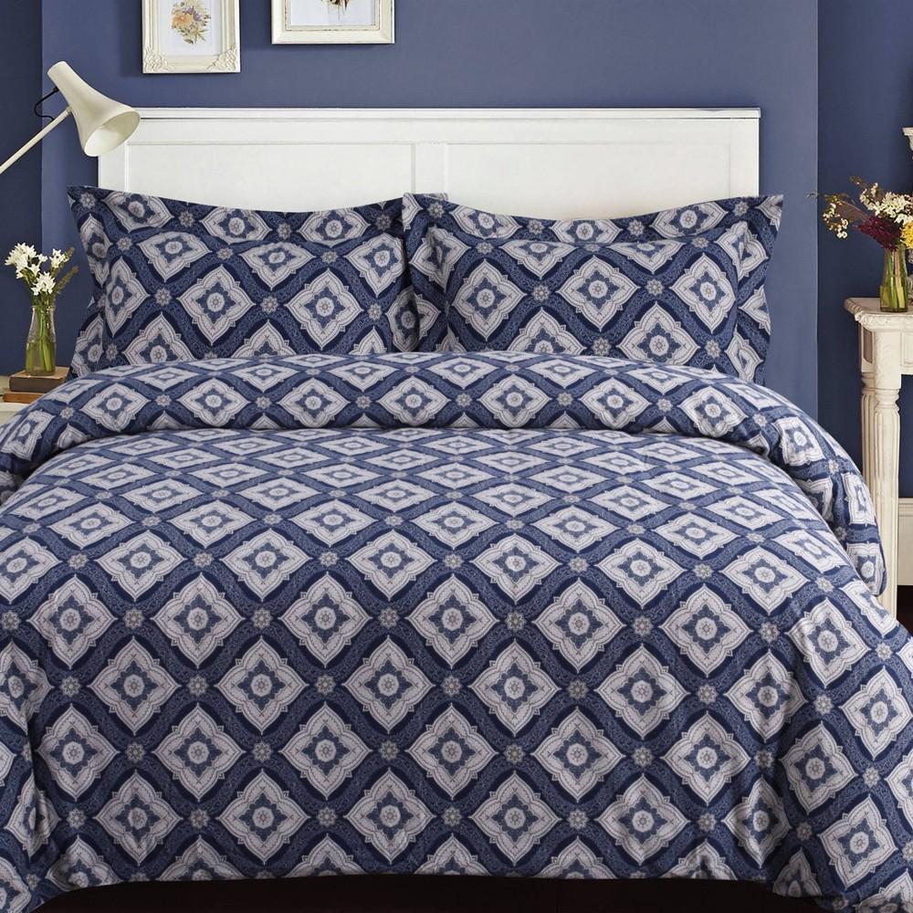 3pc Queen Damask Cotton Flannel Printed Oversized Duvet Set Navy Tribeca Living