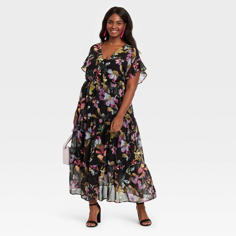Women 39 S Plus Size Floral Print Flutter Short Sleeve Chiffon Dress Ava 38 Viv 8482 Black 3x