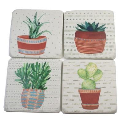 "Tabletop 3.75"" Cactus Coaster 4 Pc Set Plants Square Cork Back Neutral Ganz  -  Coasters"