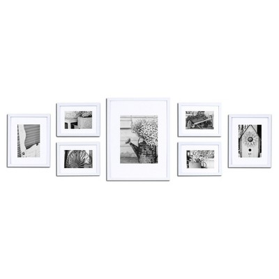 Gallery Solutions 7 Piece Wall Frame Set - White