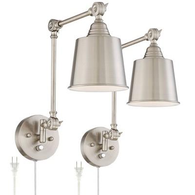 360 Lighting Modern Wall Lamps Plug In Set of 2 Brushed Nickel for Bedroom Living Room Reading