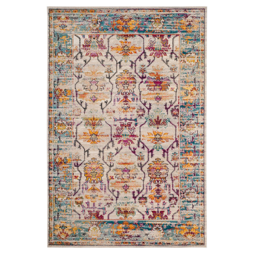 Cream/Teal Floral Loomed Accent Rug 4'X6' - Safavieh, Blue Off-White
