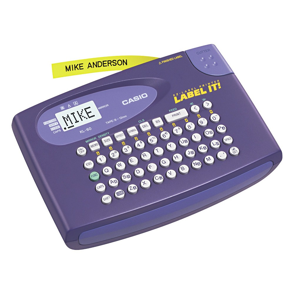 Casio KL-60L Label Maker, 2 Lines, 6-5/8w x 4-1/2d x 1-1/16h, Purple