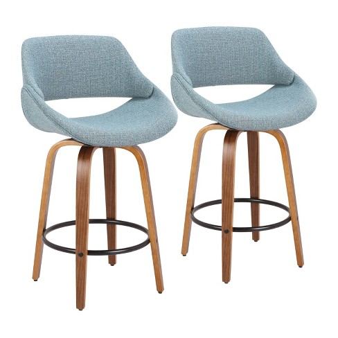 Groovy Set Of 2 Fabrico Mid Century Modern Counter Stool Walnut Blue Lumisource Squirreltailoven Fun Painted Chair Ideas Images Squirreltailovenorg