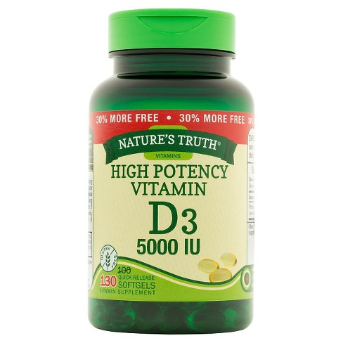 Nature's Truth High Potency Vitamin D3 Dietary Supplement Softgels - 130ct - image 1 of 2