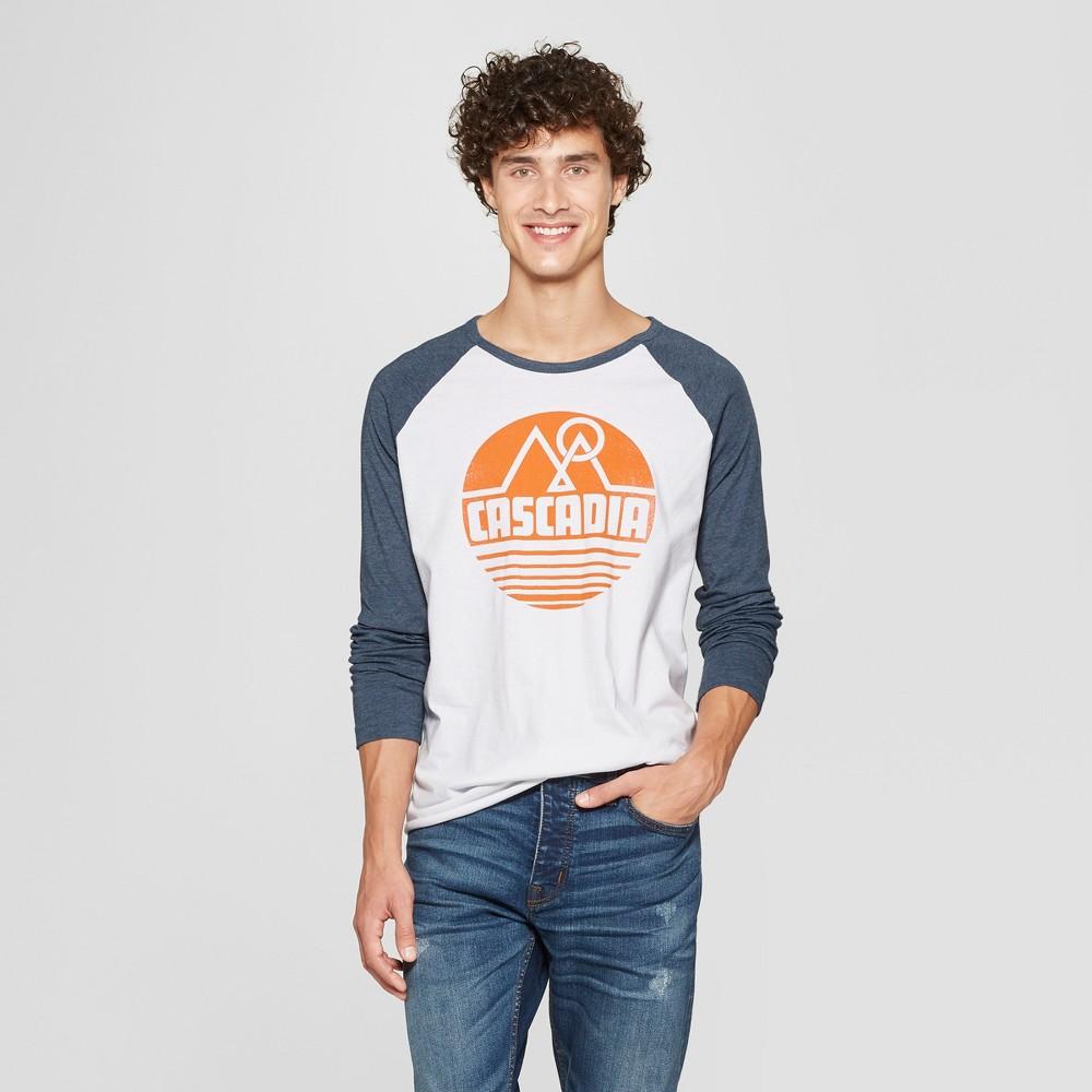 Men's Long Sleeve Cascadia Raglan Graphic T-Shirt - Awake White/Navy Xxl