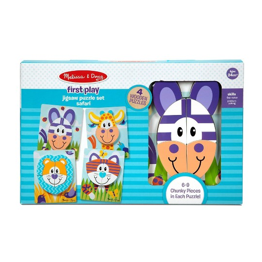 Melissa & Doug First Play 9pc Jigsaw Puzzle Set Safari image number null