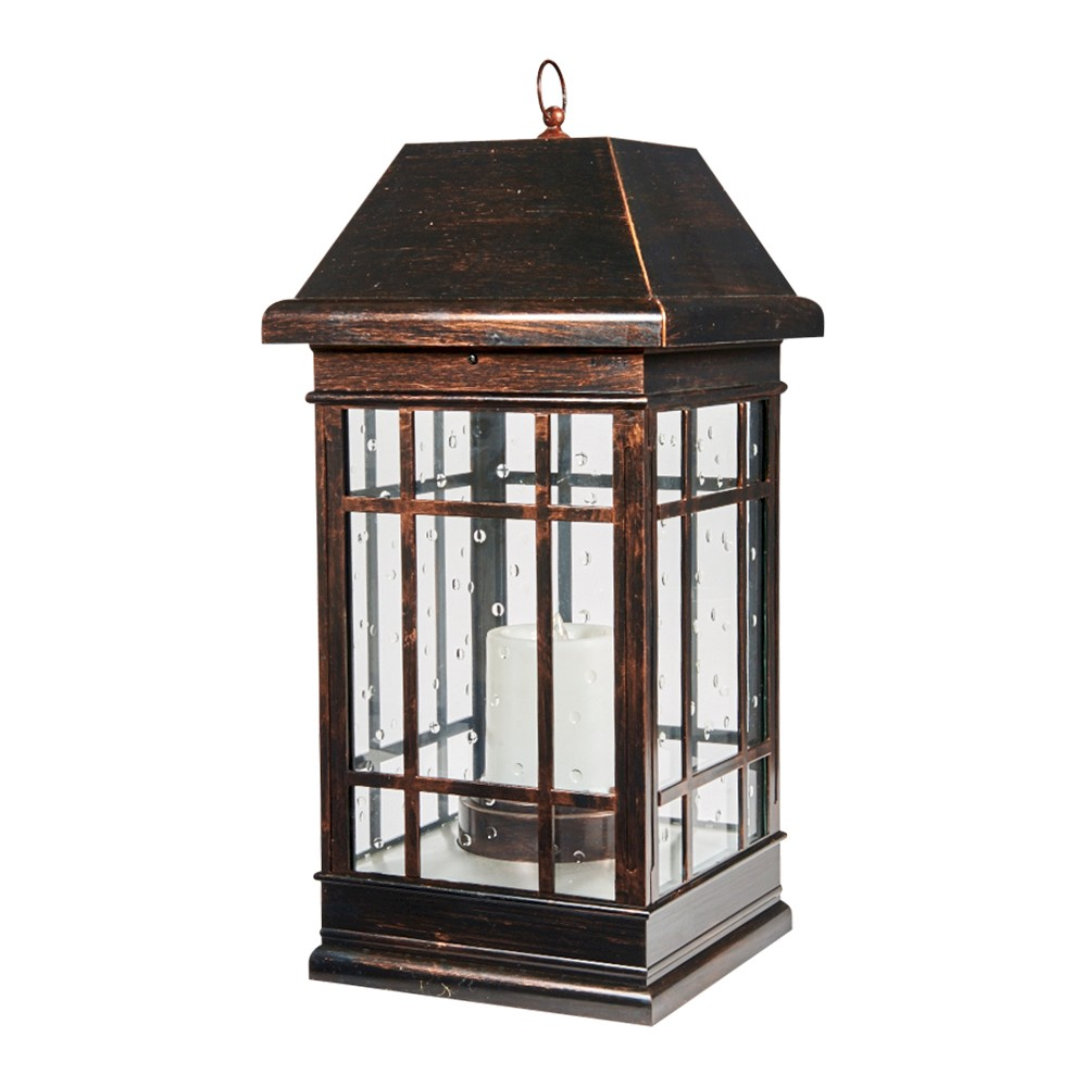 "Image of ""San Rafael 24"""" Estate Solar Mission LED Outdoor Lantern - Antique Bronze"""
