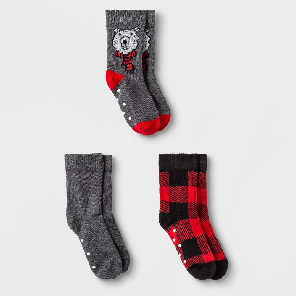 Toddler Boys' 3pk Buffalo Check Bear Crew Socks - Cat & Jack Red 2T-3T