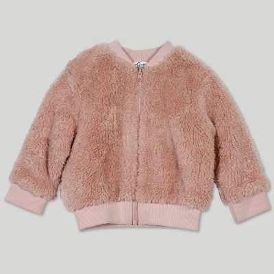 Afton Street Baby Girls' Reversible Faux Fur Jacket - Pink 3-6M