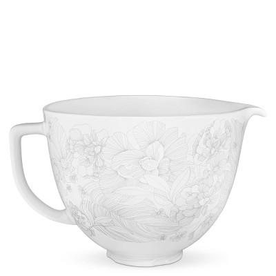 KitchenAid 5qt Whispering Floral Ceramic Bowl - White