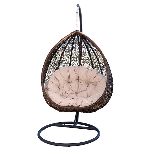 Newport Outdoor Wicker Swing Chair, Beige - Brown - Abbyson Living - image 1 of 5