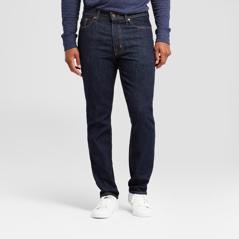 Men's Athletic Fit Jeans - Goodfellow & Co Dark Rinse Wash 40x32, Blue