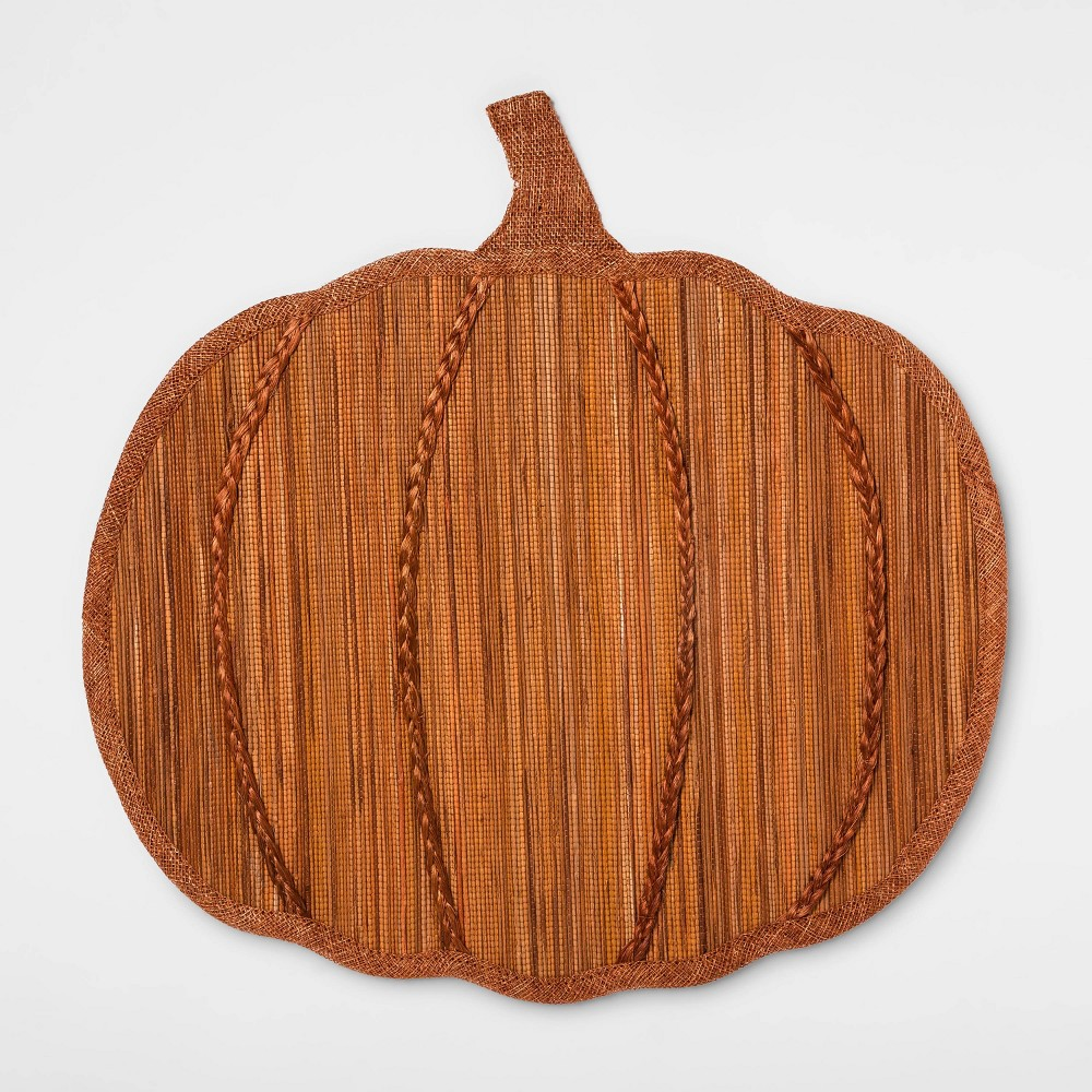 "Image of ""15""""X15"""" Pumpkin Shaped Placemat Ginger - Threshold , Brown"""