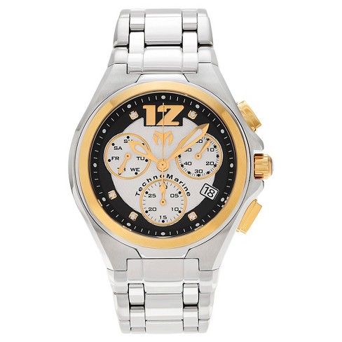 Men's Technomarine TM-215010 Manta Neo Classic Quartz Black and Gold Dial Link Watch - Silver - image 1 of 3